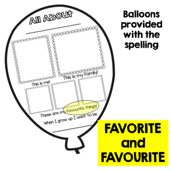 All About Me Posters for Primary Students - Balloons
