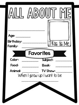 All About Me Banner Back to School Activity