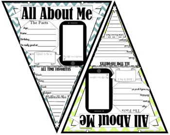 All About Me Banner (Chevron Theme) First Day of School {Get to know you}