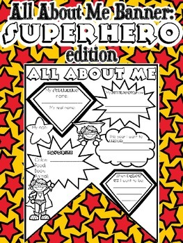 All About Me Banner: Superhero Edition