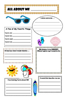 All About Me Beach Theme Poster (back to school)