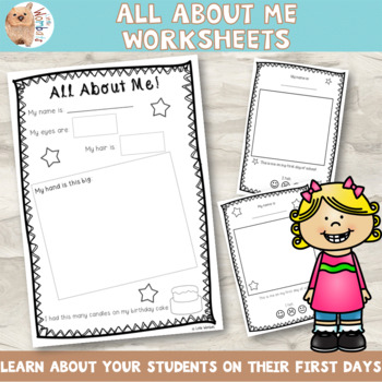 All About Me Worksheets - Beginning / Starting School for Littlies
