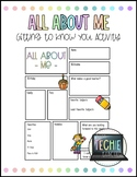 All About Me Beginning of School Year Activity