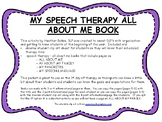 All About Me -  Beginning of the Year Book for Speech Therapy