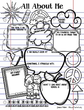 All About Me Beginning of the Year Doodle and Color Poster