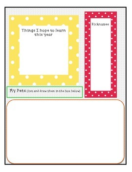 All About Me Beginning of the Year Fifth Grade Activity Booklet