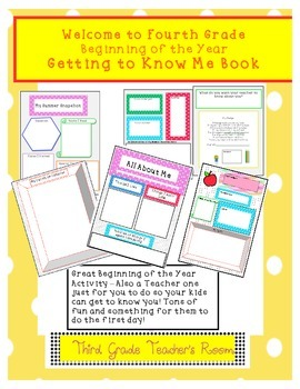 All About Me Beginning of the Year Fourth Grade Activity Booklet