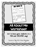 All About Me (Beginning of the Year) Worksheet