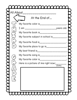 All About Me-Beginning to End 3rd Grade
