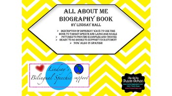 All About Me Biographical Book: English and Spanish- BUNDLE
