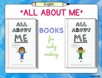 """""""All About Me"""" – Editable Blank Student Books for Early Writing Practice"""