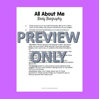 All About Me Body Biography Great Back to School Activity