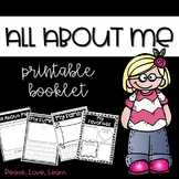 All About Me Book Back To School Printable Booklet