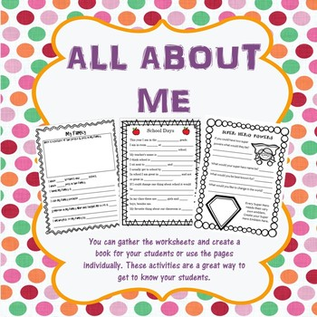 All About Me Book - Beginning of the Year