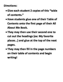 All About Me Book Headings and Table of Contents FREE