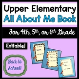 All About Me Book - Upper Elementary - 4th, 5th, 6th grade