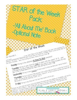 """All About Me!"" Book for Student of the Week"