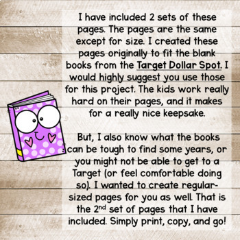 All About Me Book for Target Blank Books! Great for Back to School Writing