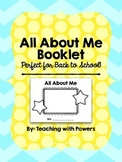 All About Me Booklet - Back to School