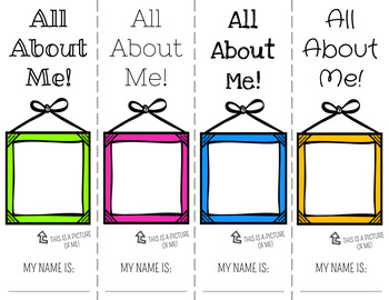 All About Me Bookmarks (Color and B&W)