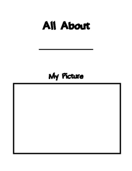 All About Me Books: A Take Home Activity