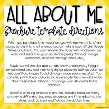 All About Me Brochure Template for Google Slides BACK TO SCHOOL ACTIVITY