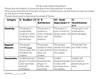 Back to School All About Me Bulletin Board and Rubric