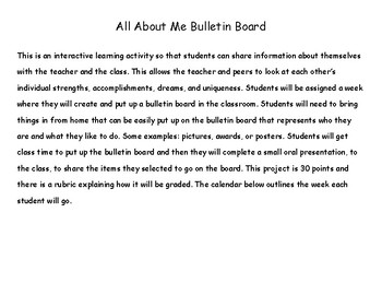 All About Me Bulletin Board and Rubric