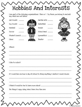All About Me Packet - Activities for Back to School