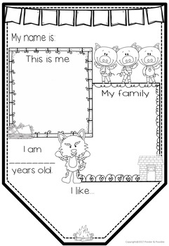 All About Me Junior Bunting - 3 Little Pigs Nursery Rhyme - Back to School