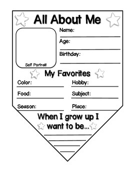 All about me bunting banner by i is for inspire tpt for About me template for students