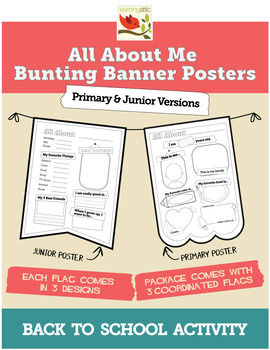 All About Me Bunting Banner Posters - Primary & Junior Versions