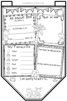 All About Me Bunting - Beach Theme ~ Great Back to School Activity