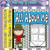 All About Me Bunting - Camp Theme ~ Great Back to School Activity