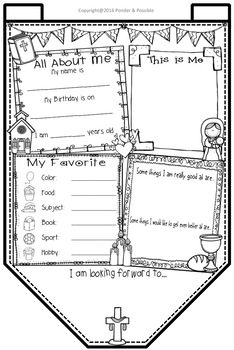 All About Me Bunting - Catholic Bible Theme ~ Great Back to School Activity