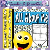 All About Me Bunting - Emoji / Smily Face Theme ~ Great Back to School Activity