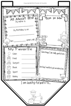 All About Me Bunting - Farm Theme ~ Great Back to School Activity