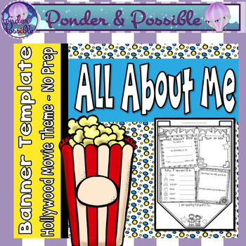 All About Me Bunting - Hollywood Movie Theme ~ Great Back to School Activity