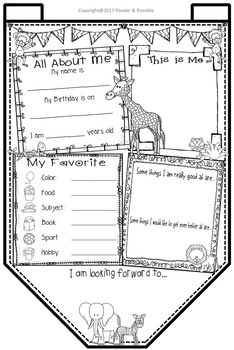 All About Me Bunting - Jungle Theme ~ Great Back to School Activity
