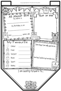 All About Me Bunting - Owl Theme ~ Great Back to School Activity