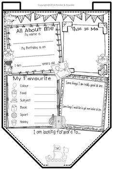 All About Me Bunting - Pirate Theme ~ Great Back to School Activity