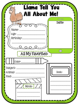 All About Me Bunting / Worksheet FREEBIE!