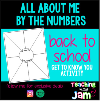 All About Me By The Numbers - First Days of School Activity