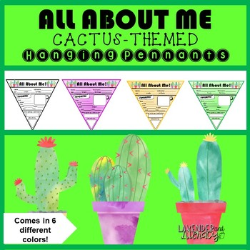 All About Me Cactus-Themed Pennants