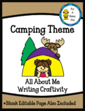All About Me-Camping Theme-Writing Craftivity Freebie