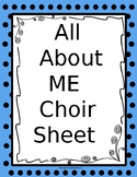 All About Me Choir Worksheet