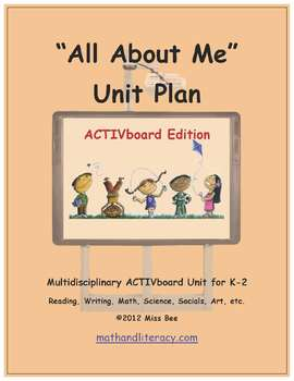"""All About Me"" Common Core Aligned Math and Literacy Unit - ACTIVboard EDITION"
