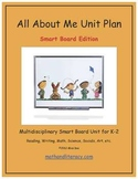 """All About Me"" Common Core Aligned Math and Literacy Unit - SMARTBOARD EDITION"