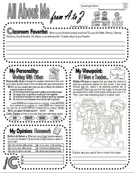Back to School Autobiography Journal--Personality Quizzes, Hidden Image Coloring