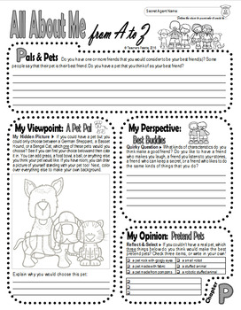 Journal Prompts: Secret Identity All About Me Book w/Hidden Image Coloring (O-P)